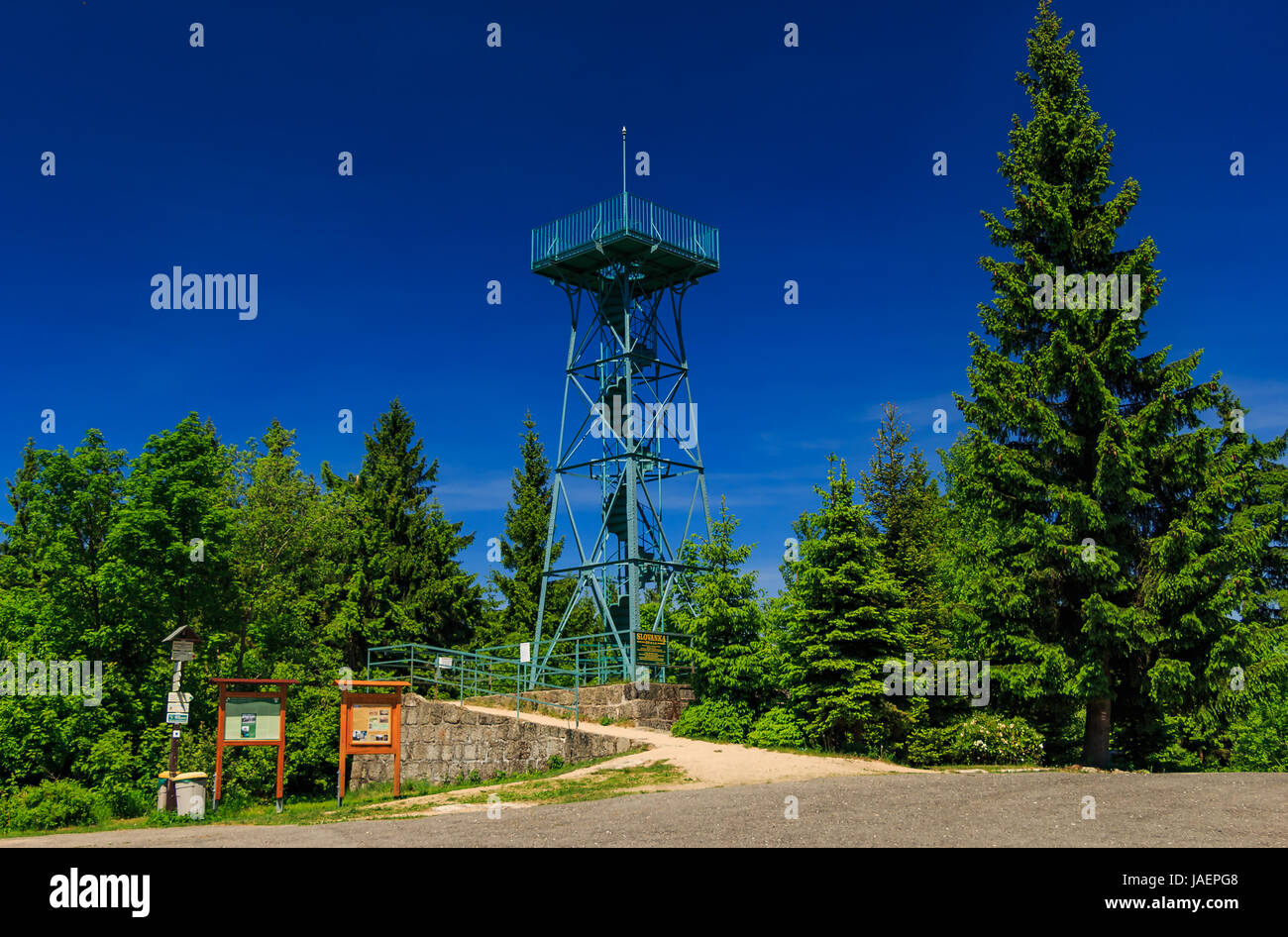 overall view of the Slovanka lookout tower - Stock Image