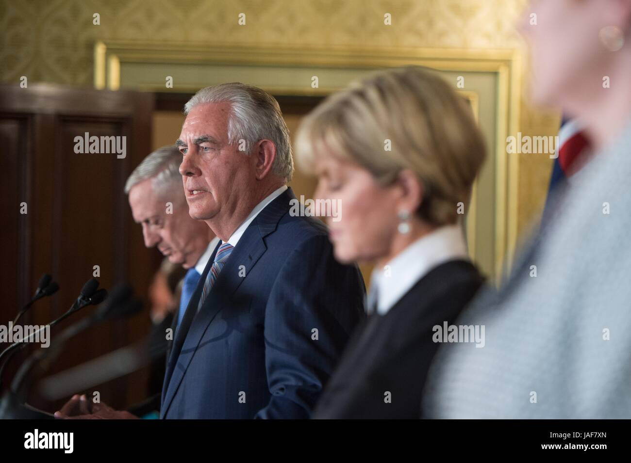 U.S. Secretary of State Rex Tillerson listens to a reporters question during a joint press conference at the NSW - Stock Image