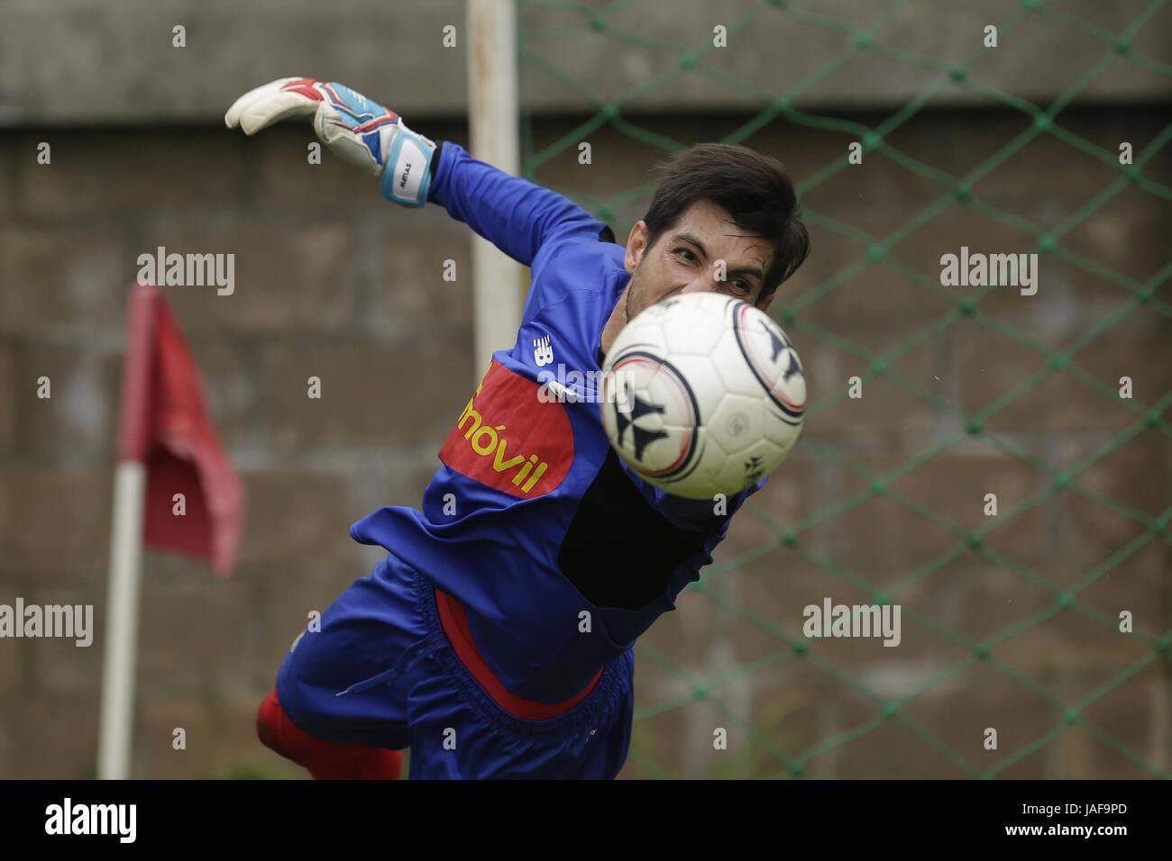 Panamas National Soccer Team Goalkeeper Jaime Penedo Participates In A Training Session In San Salvador El Salvador