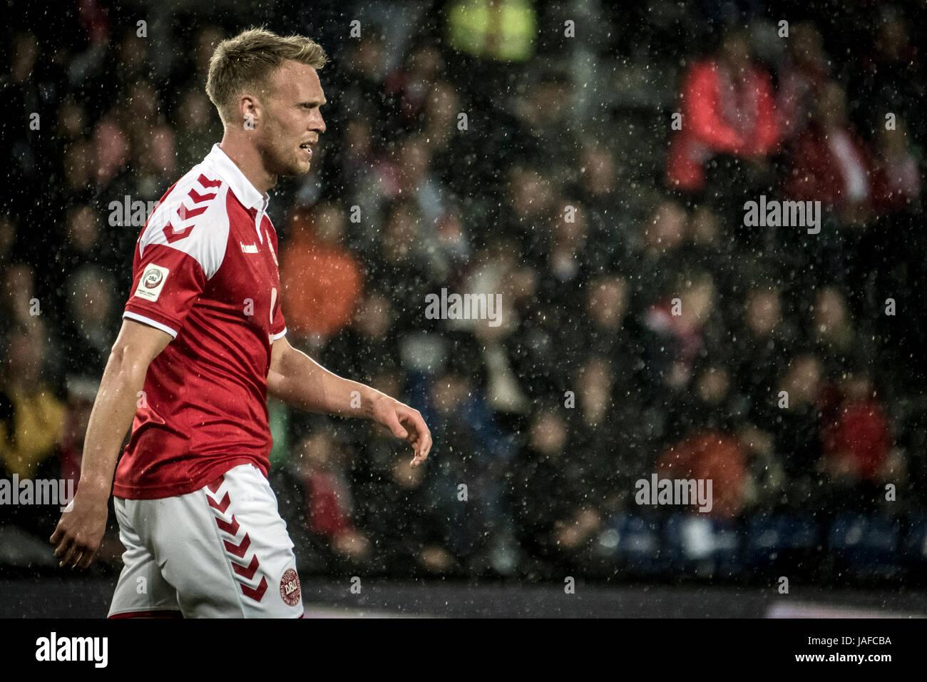 Brondby, Denmark. 6th Jun, 2017. Nicolai Jorgensen (9) of Denmark seen during the football friendly between Denmark - Stock Image