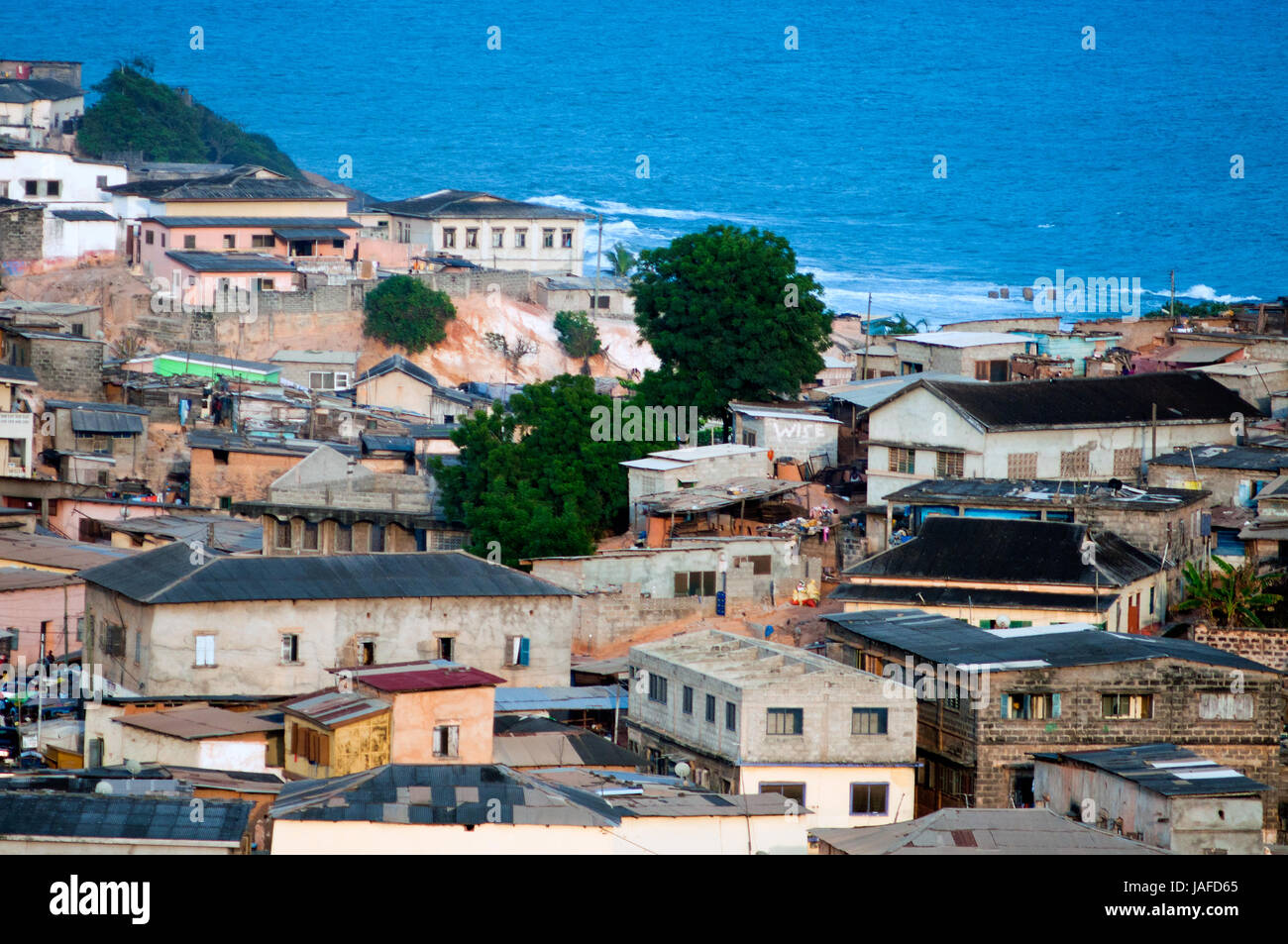 View of streets and housing from fort william cape coast ghana