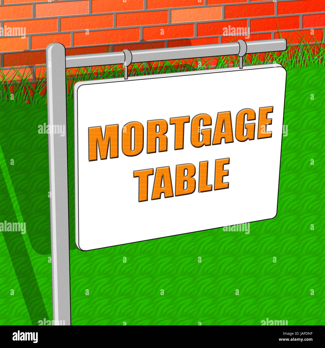 mortgage table representing loan calculator 3d illustration stock