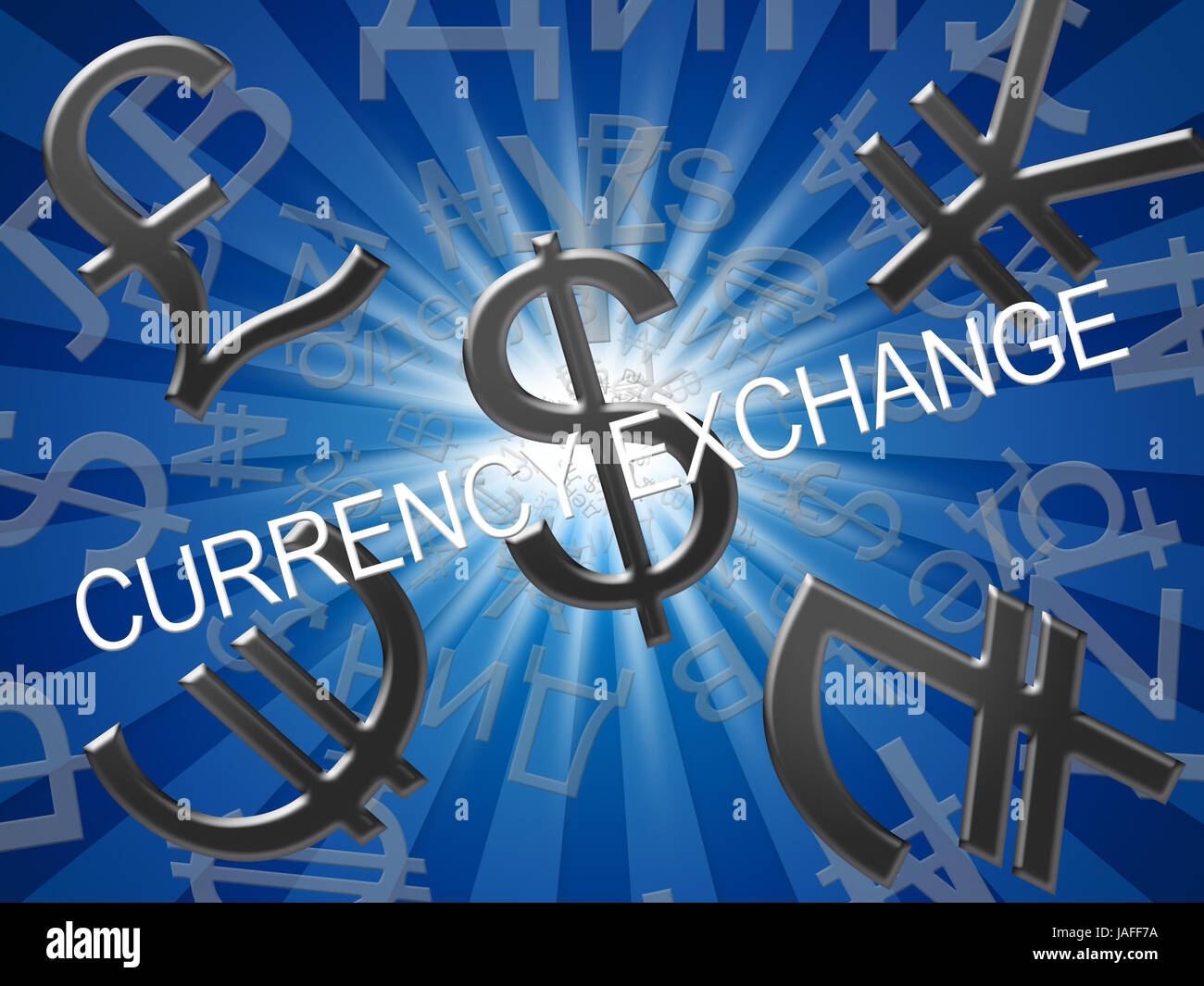 Currency Exchange Symbols Meaning Forex Rate 3d Illustration Stock
