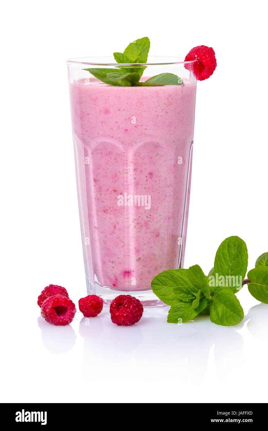 Milky raspberry cocktail on white isolated background Stock Photo