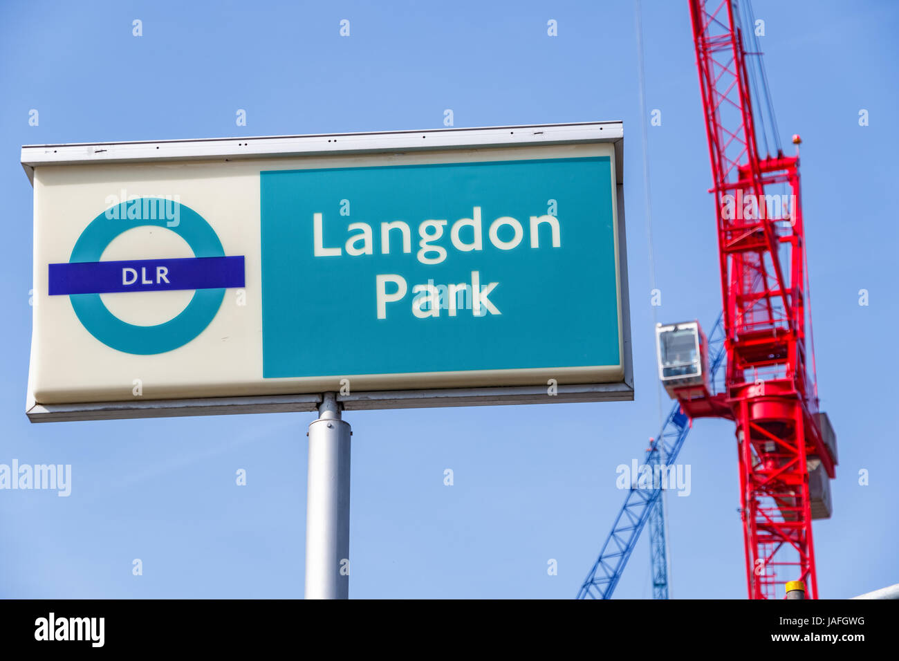 London, UK - March 27th, 2017 - Langdon Park sign with building cranes in the background - Stock Image