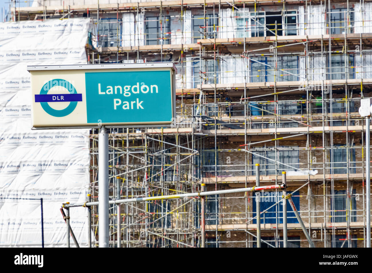 London, UK - March 27th, 2017 - Langdon Park sign with a construction site of  new development - Stock Image