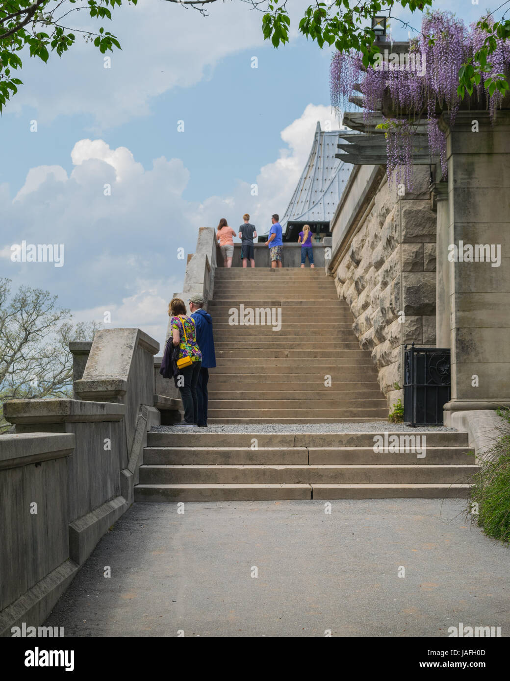 Biltmore Estate - stair case with a scenery - Stock Image