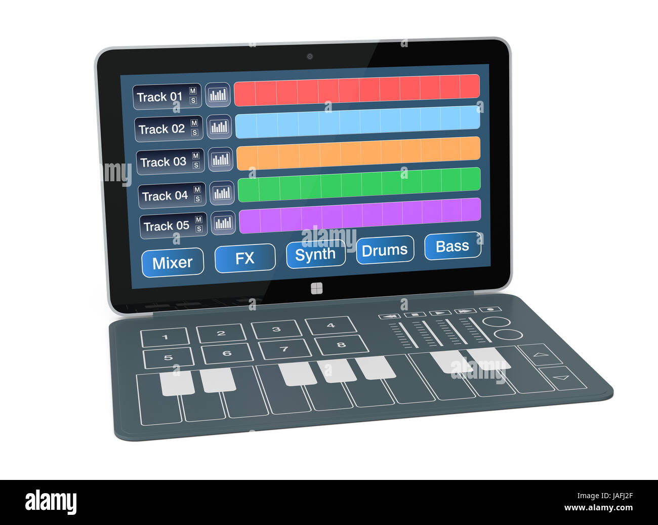 notebook with digital audio software and a dedicated