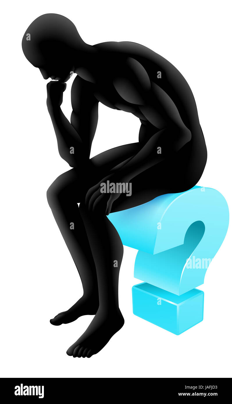 Silhouette man on a question mark icon in thinking in a thinker pose. Concept for any questioning or psychology, Stock Photo