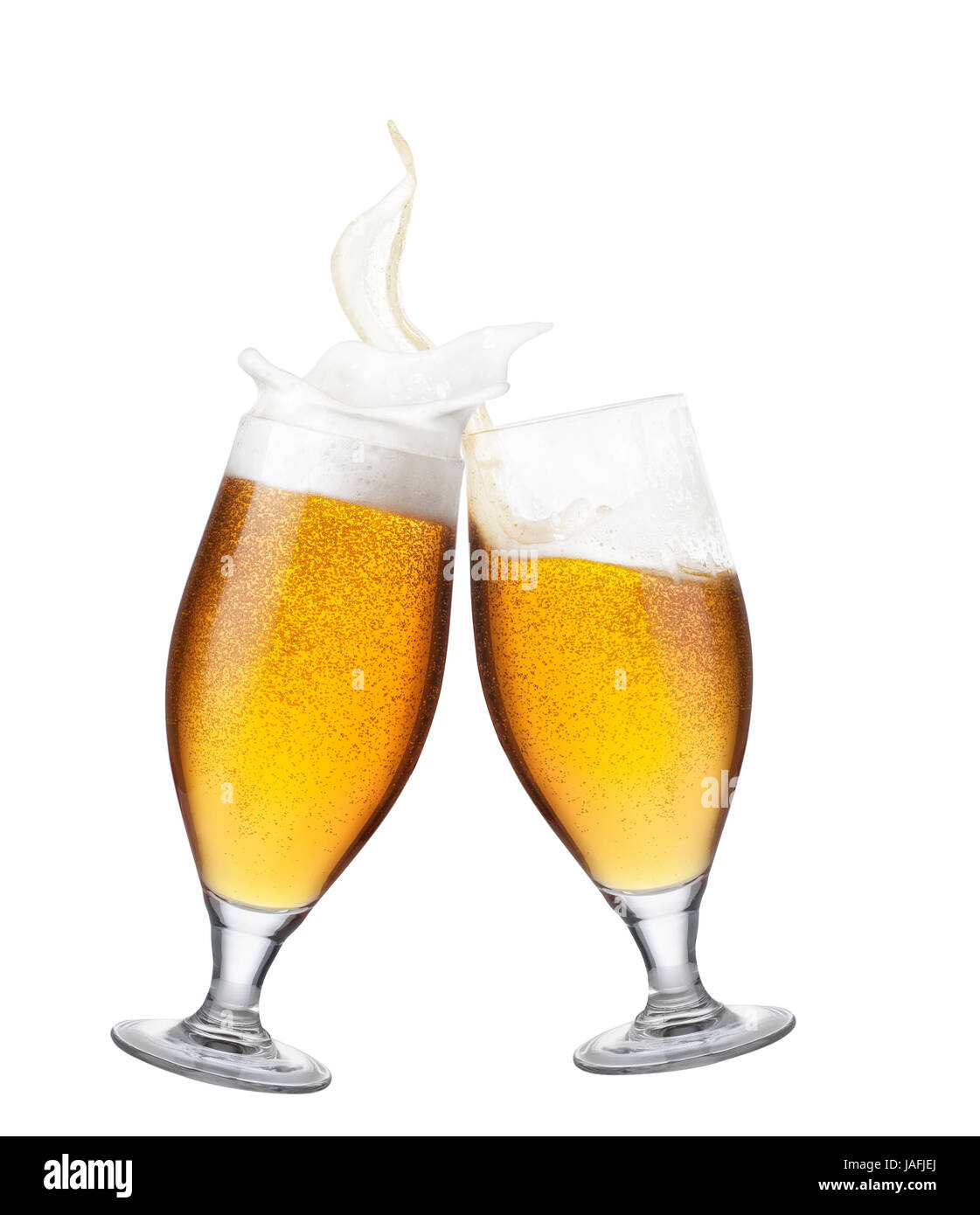 two glasses of beer toasting creating splash isolated on white stock photo  144173306