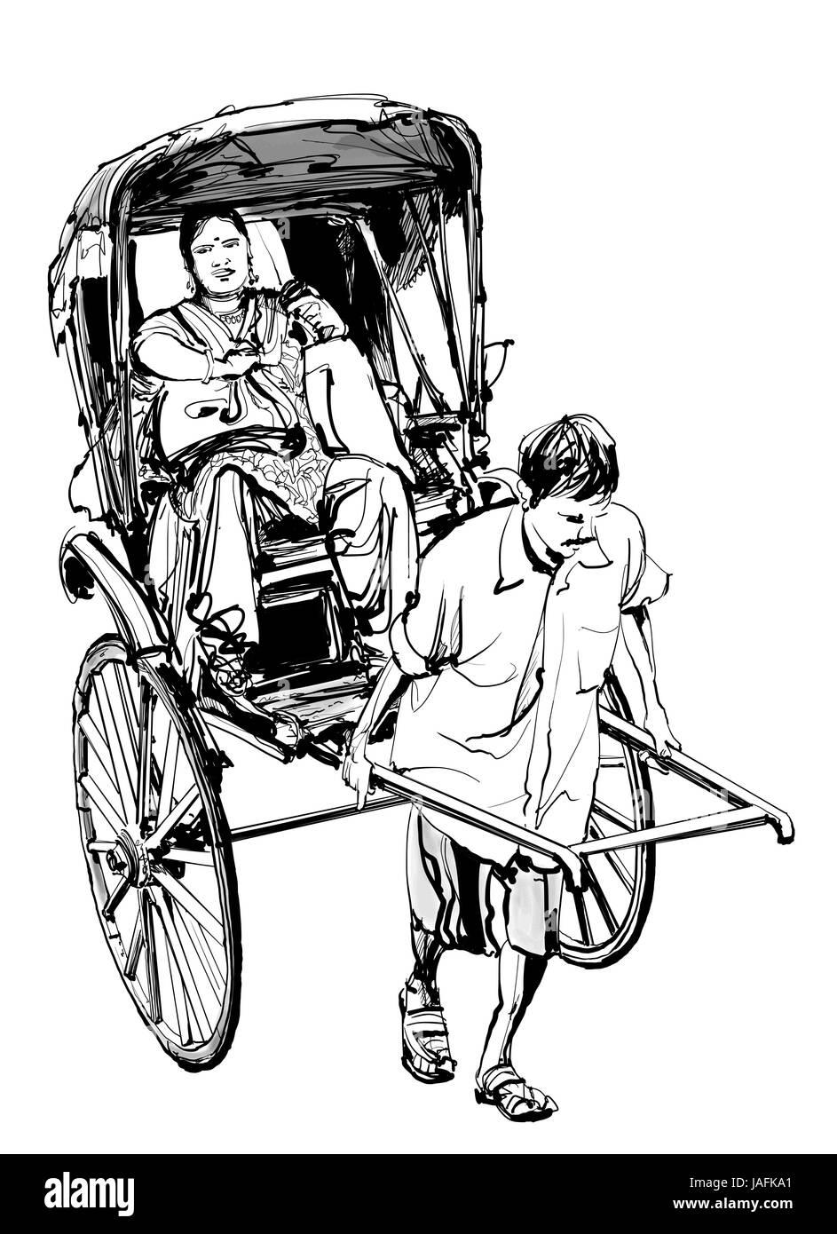 Kolkata, India - drawing a rickshaw with a passenger - vector illustration - Stock Vector