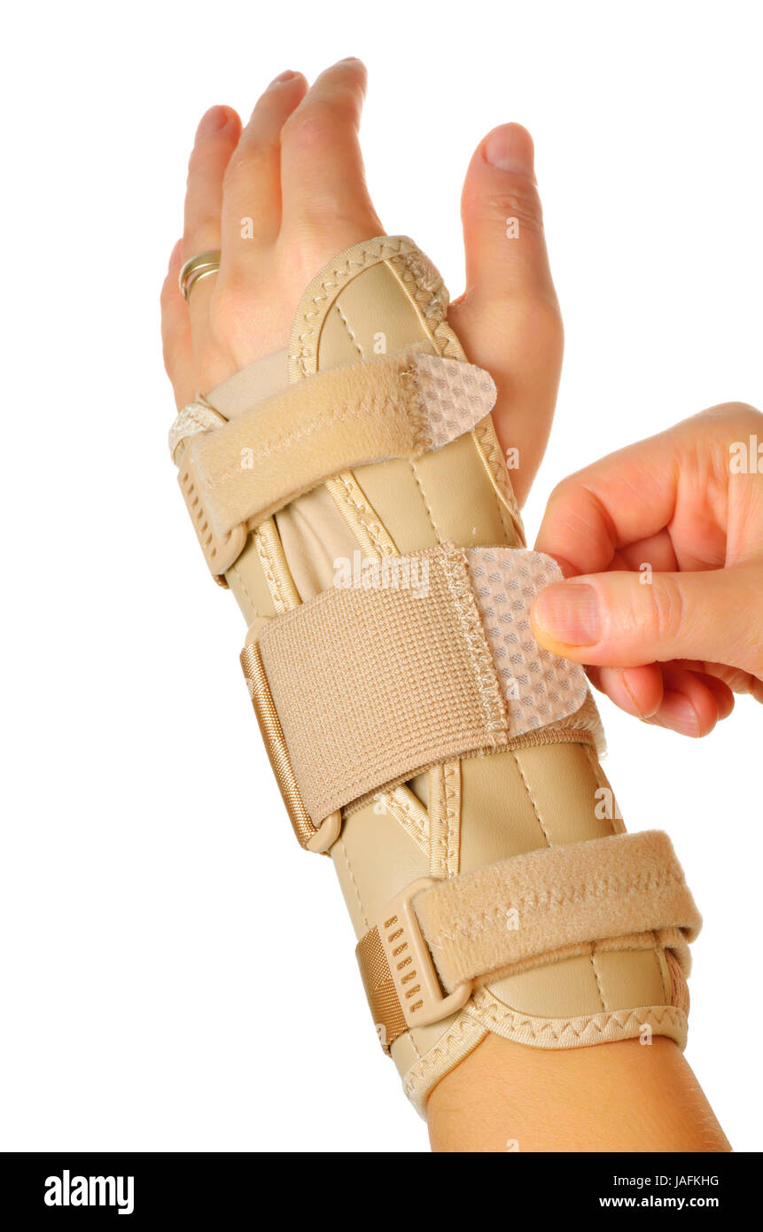 Velcro Straps on a Carpal Tunnel Support Wrist Brace - Stock Image