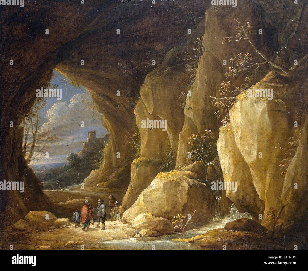 David Teniers the Younger - Landscape with a Grotto and a Group of Gipsies - Stock Image