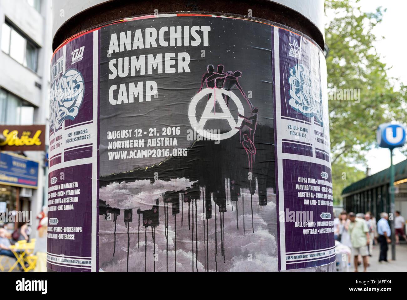 Anarchist Summer Camp sign, Vienna, Austria - Stock Image