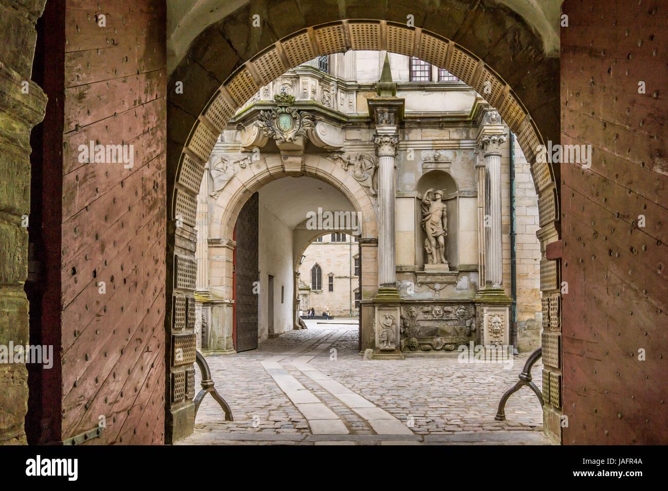 Portal into Kronborg, the  castle  of Hamlet in Elsinore, Denmark, May 30, 2017 Stock Photo