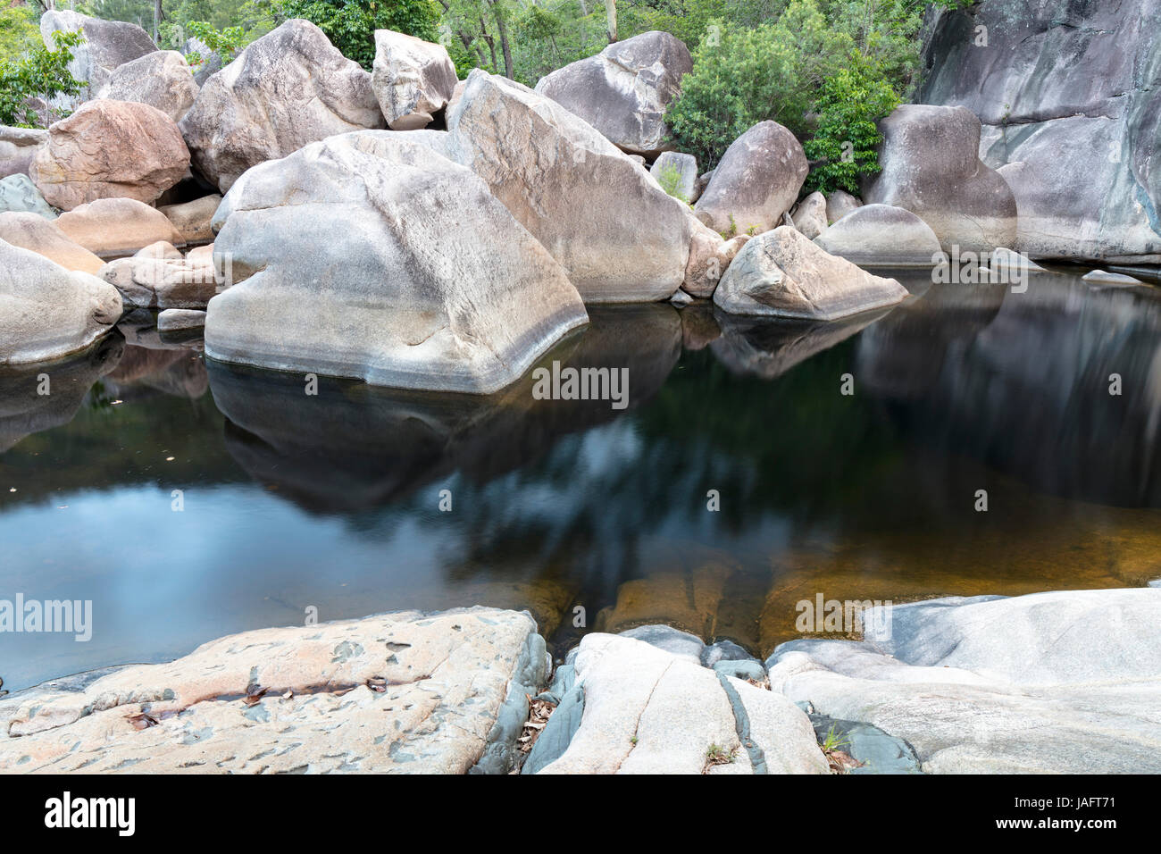 Mafic Intrusion in Granite, Jourama Falls Section, Paluma Range National Park, Queensland, Australia - Stock Image
