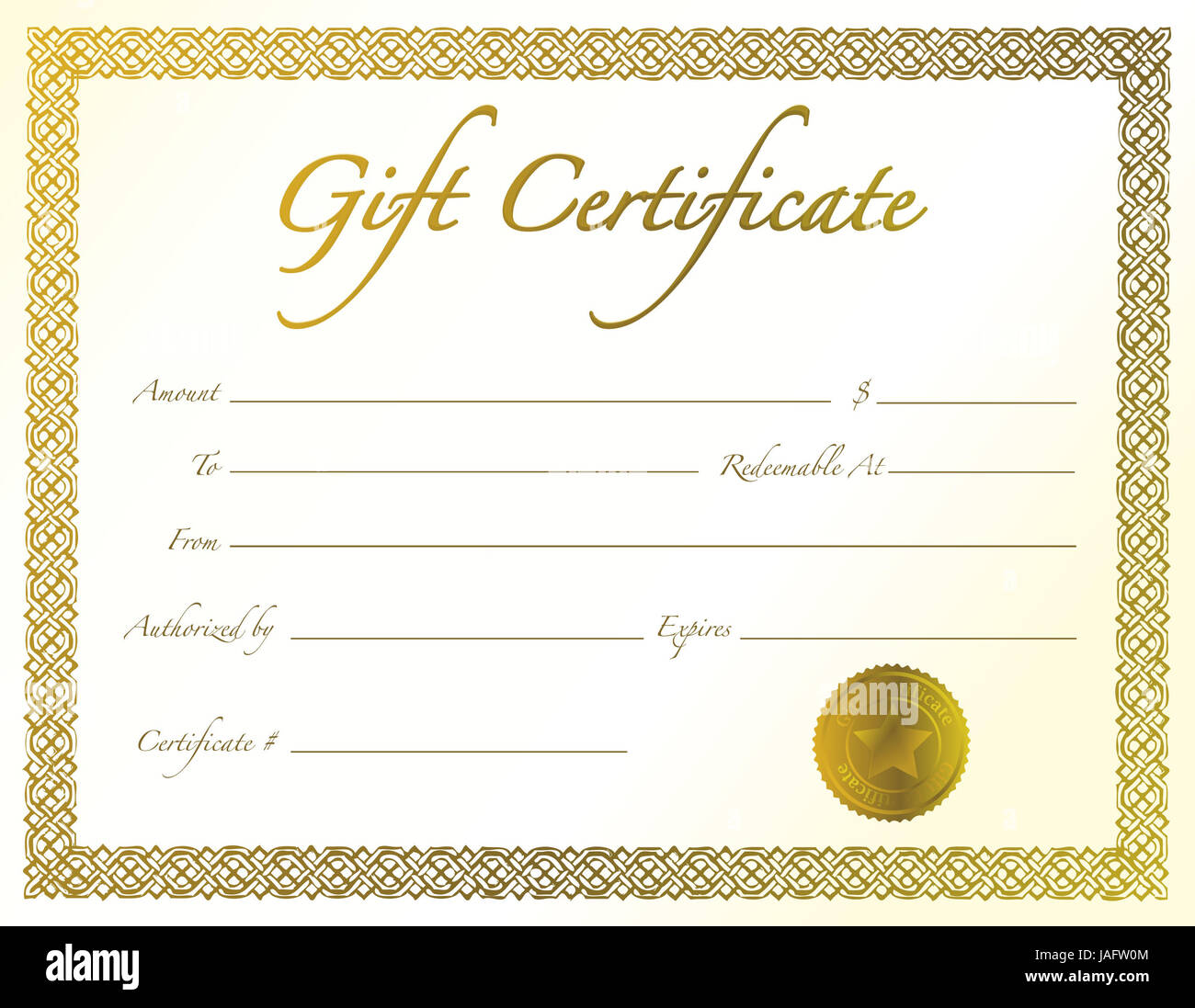 gold gift certificate with golden seal and design border stock photo