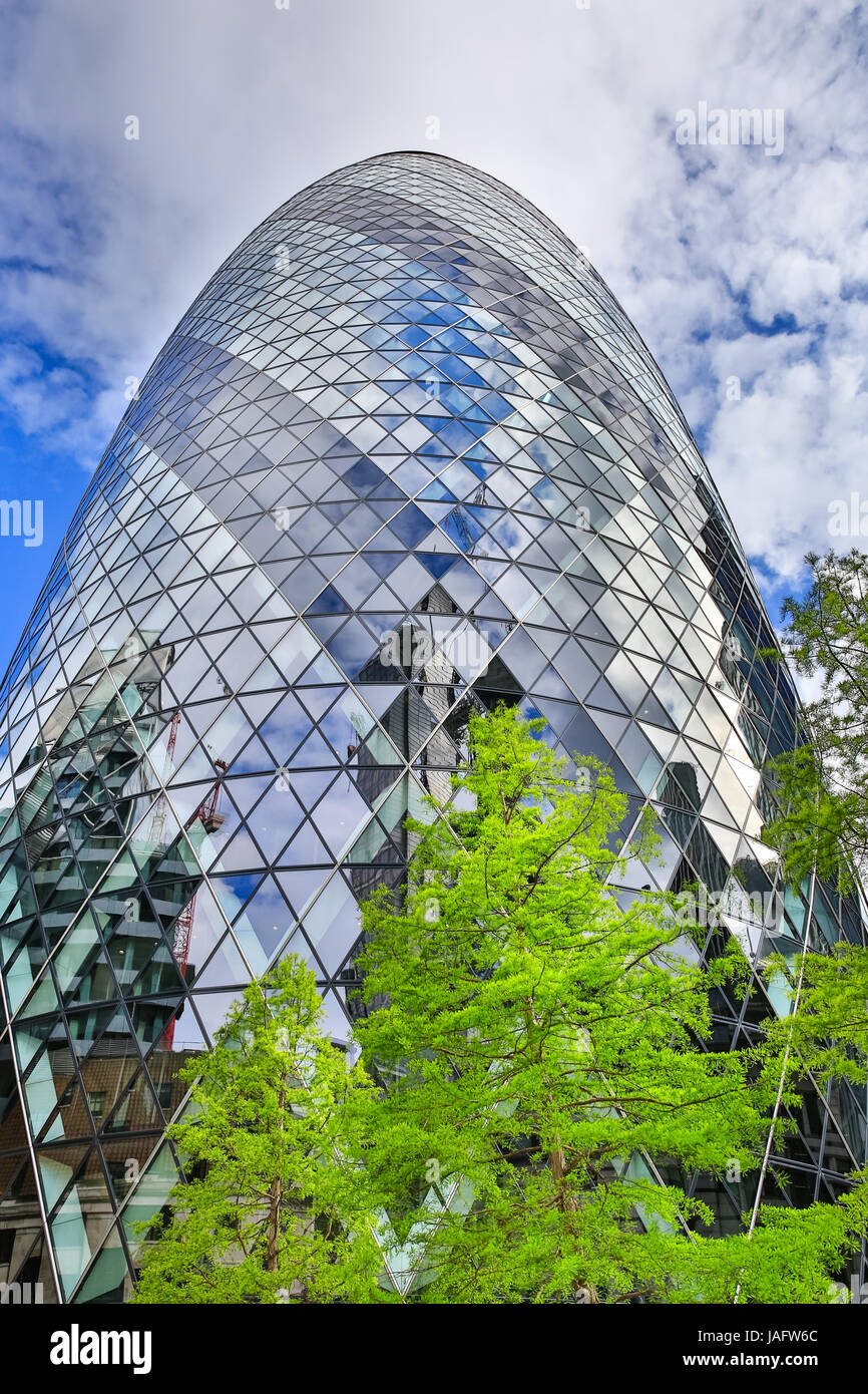 The Gherkin, iconic skyscraper building, City of London, London, UK - Stock Image