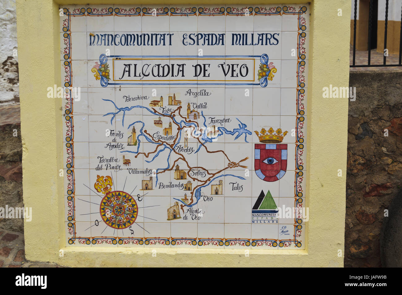 Map Of Spain By Province.Tiled Map Of The Community Of Alcudia De Veo In The Province Of