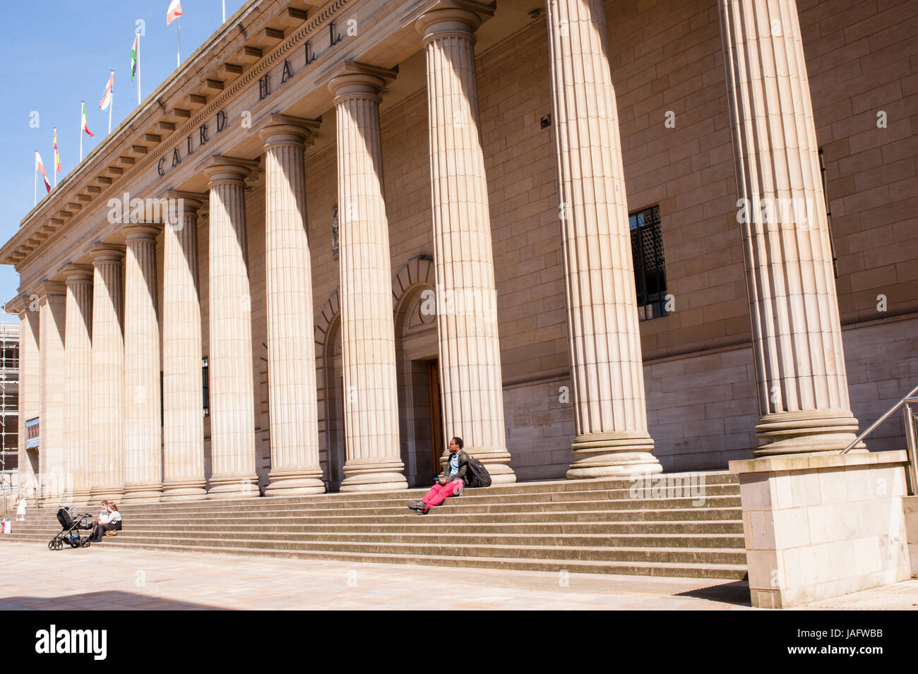 Dundee city square and The Caird Hall. Dundee, Scotland.Situated on the north bank of Firth of Tay Dundee is the - Stock Image