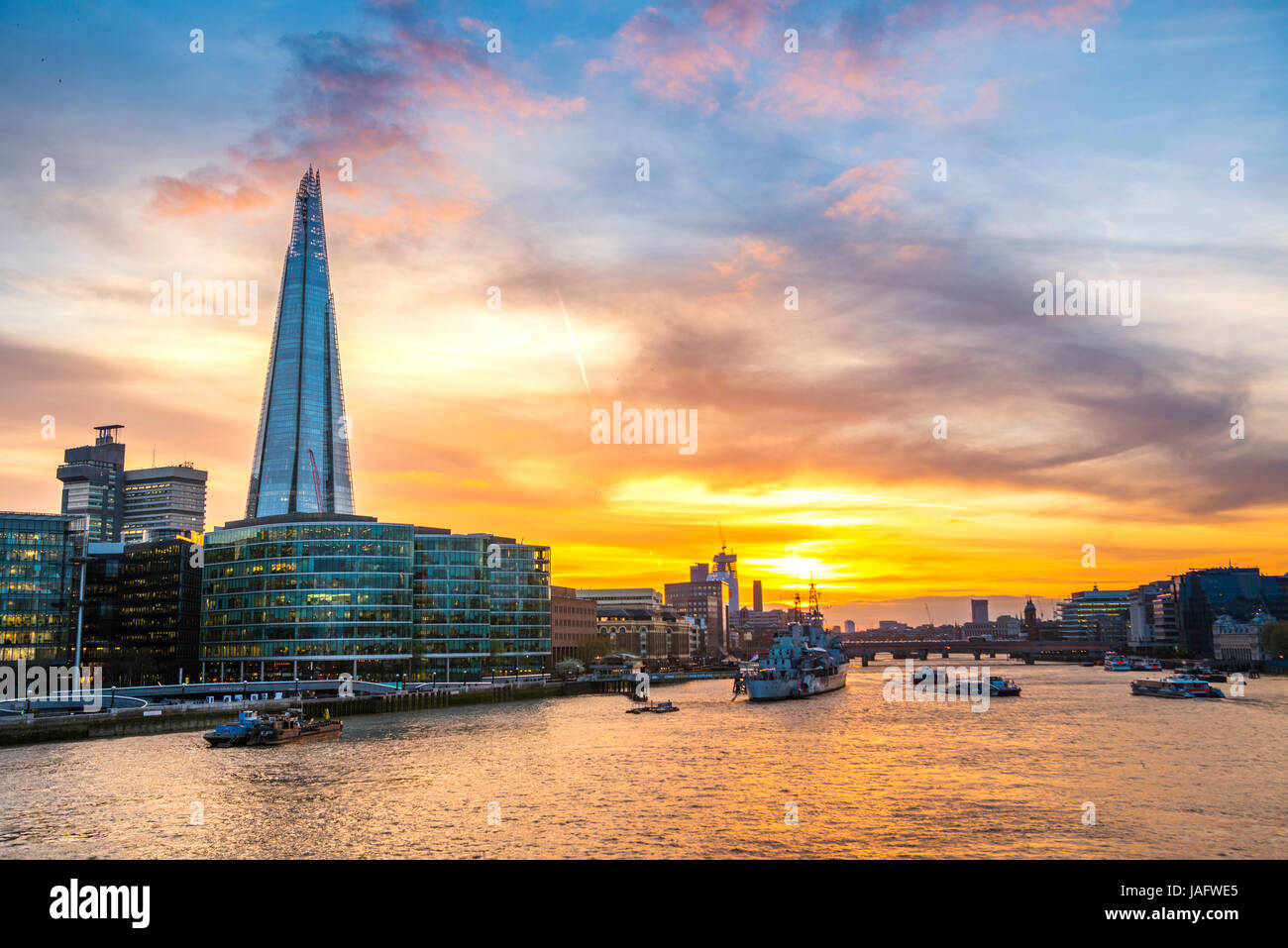 Skyline of the office complex More London Riverside, The Shard, Thames at sunset, Southwark, London, England, United - Stock Image