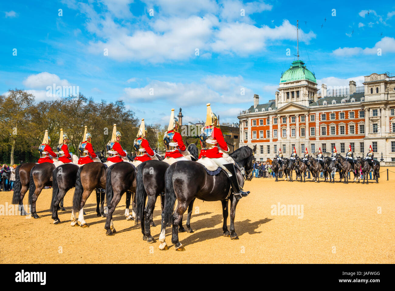 Royal Guards in red uniform on horses, The Lifeguards, The Blues and Royals, Household Cavalry Mounted Regiment, Stock Photo