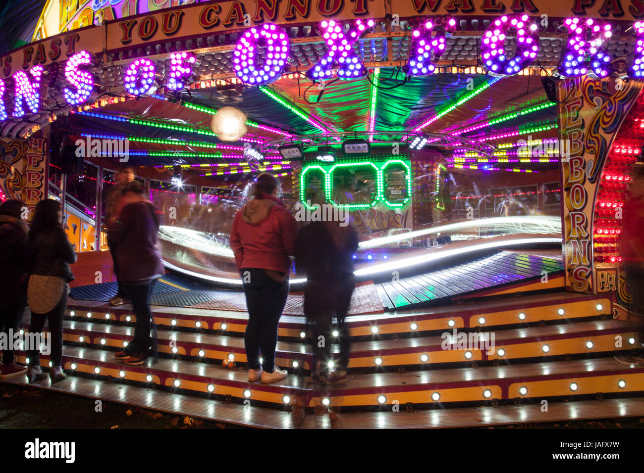 Hebbons of Oxford Waltzer Fun Fair Ride At Witney Feast - Stock Image