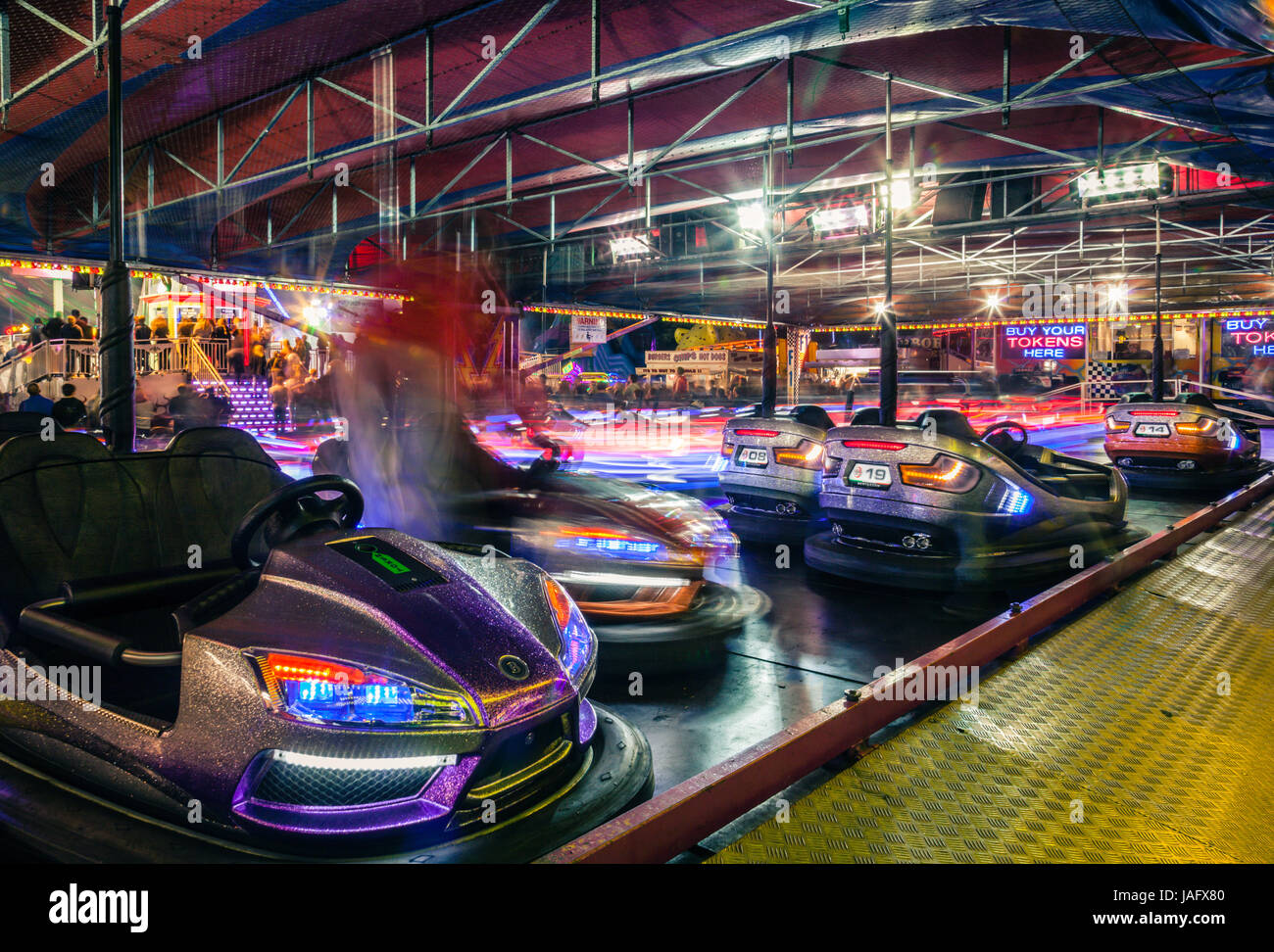 'The Dodgem' aka Bumper Cars ride at Witney Feast. - Stock Image