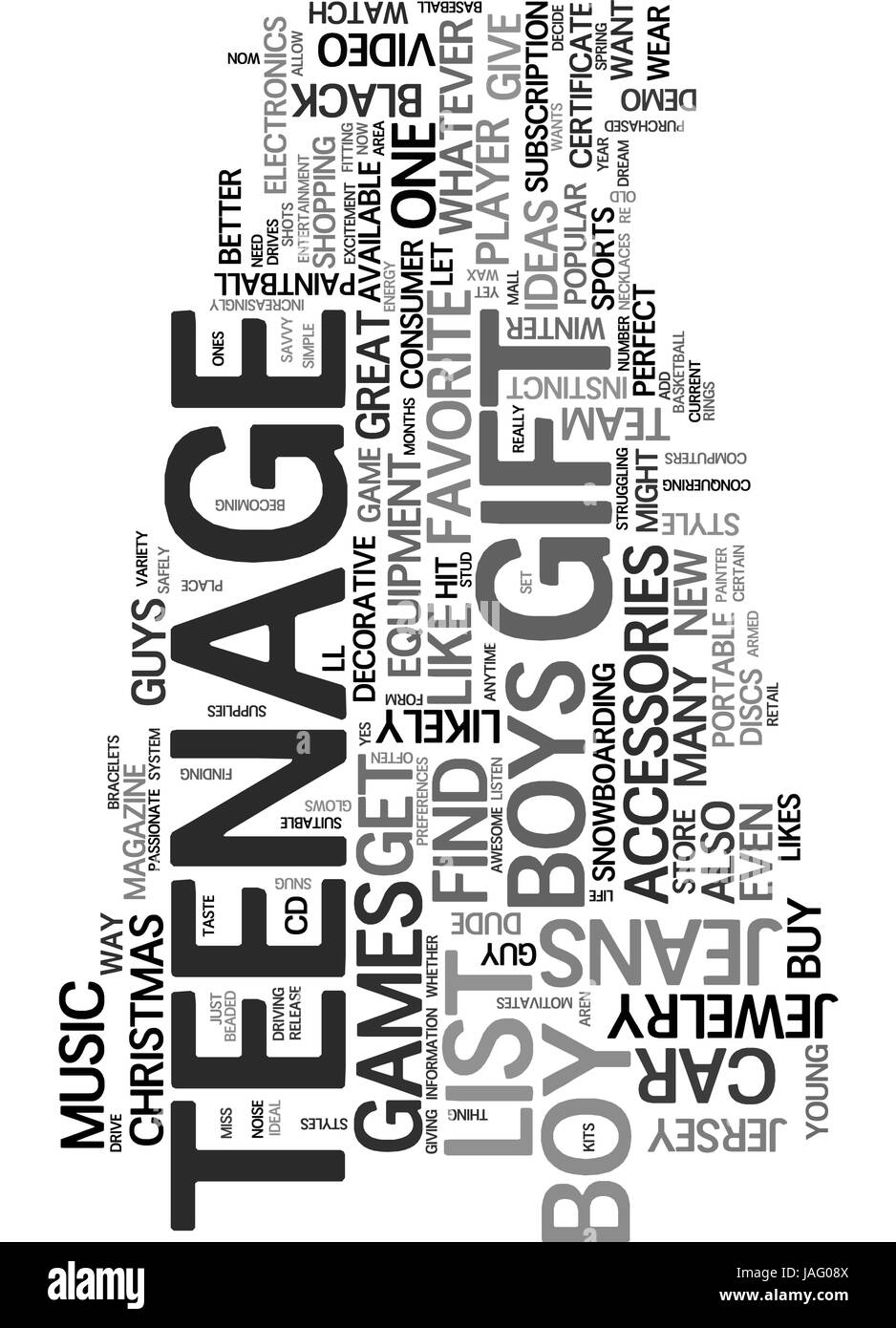 AWESOME GIFT IDEAS FOR THE TEENAGE DUDE TEXT WORD CLOUD CONCEPT Stock Vector