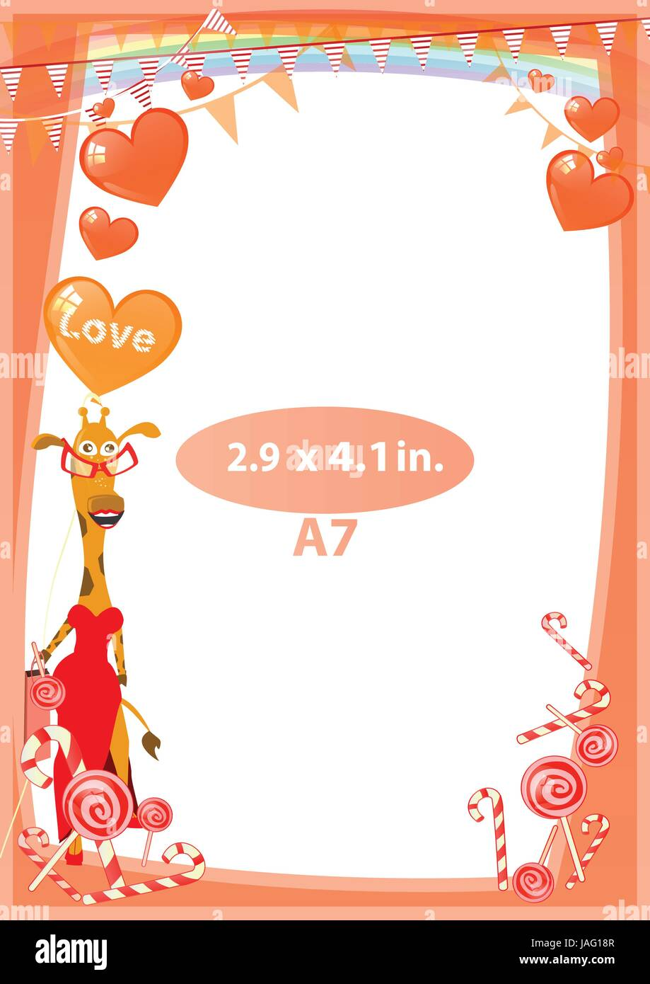 20aace03692b Photo The frame is red. Standard size in inches. A format. Vertical  orientation of the sheet. Illustration for your design. Giraffe in a red  dress amo