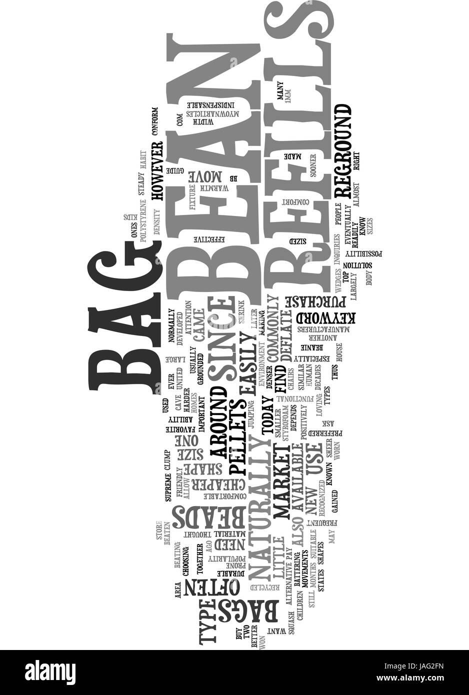 BEAN BAG REFILLS TEXT WORD CLOUD CONCEPT - Stock Image
