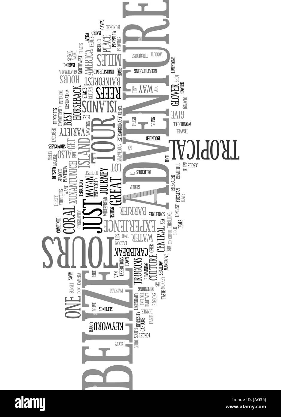 BELIZE ADVENTURE TOURS TEXT WORD CLOUD CONCEPT - Stock Vector