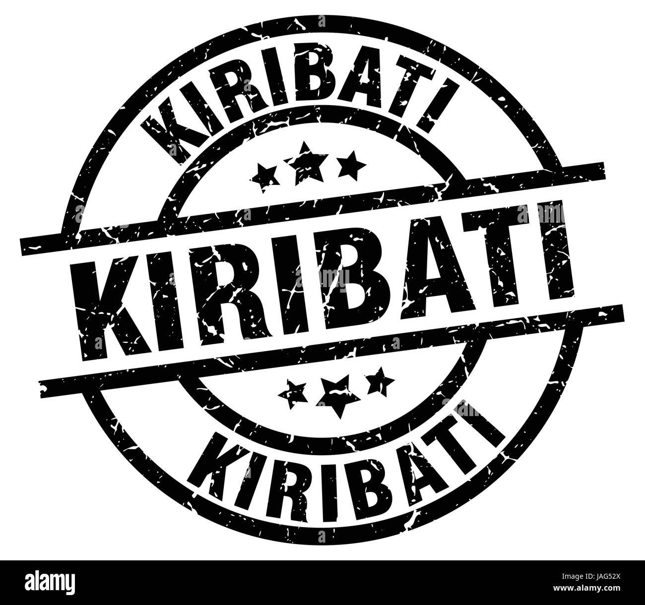 Kiribati black round grunge stamp - Stock Image