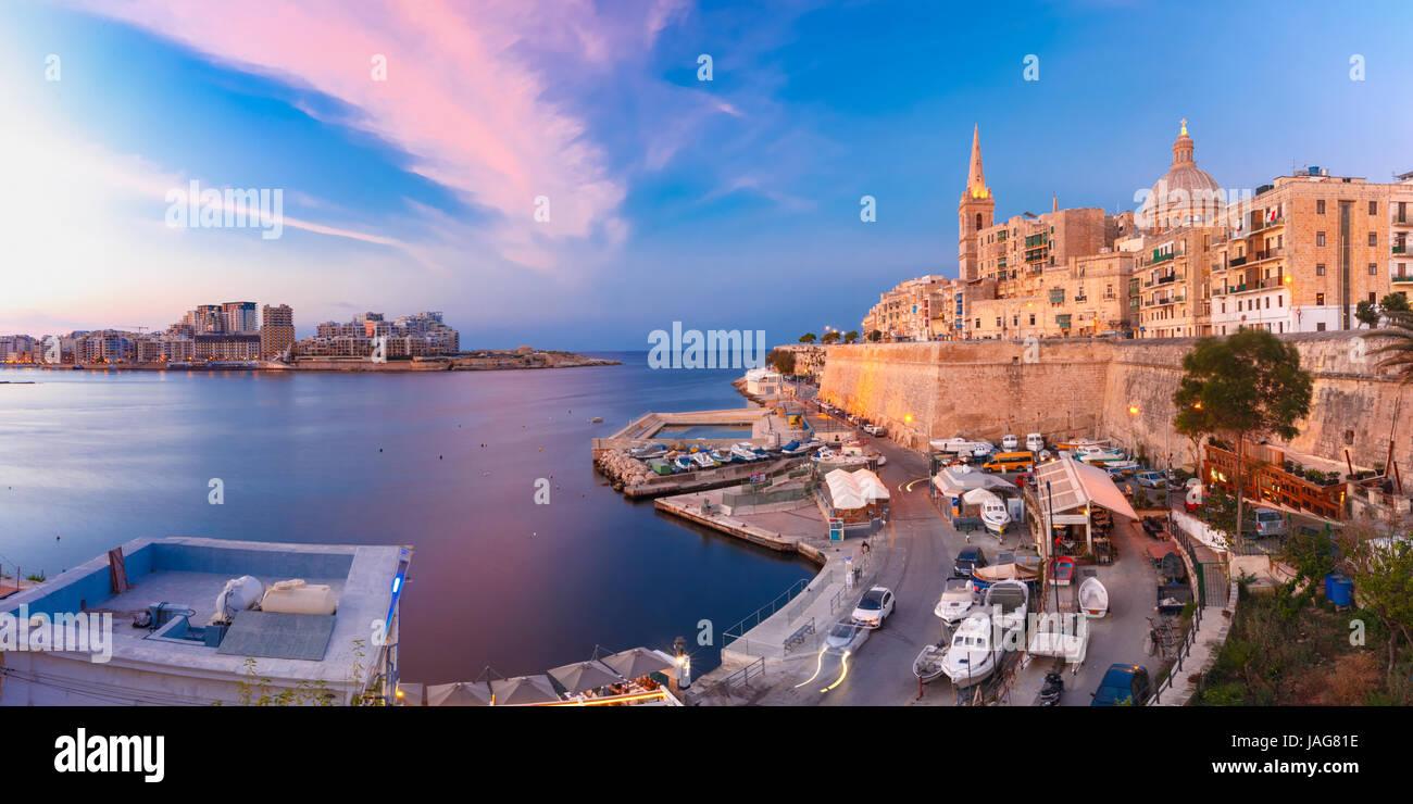 Valletta Skyline at sunset, Malta - Stock Image
