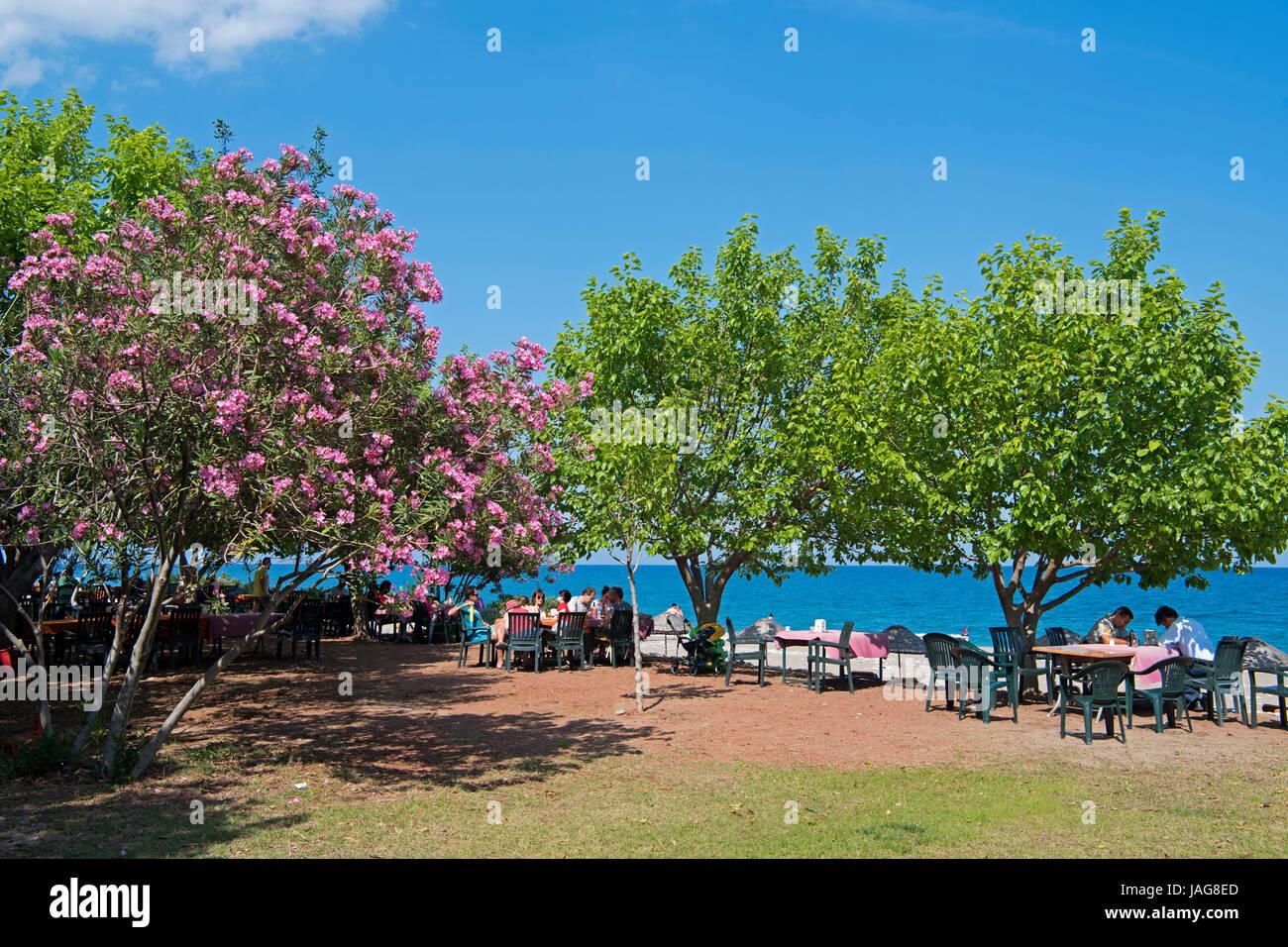 Asien, Türkei, Provinz Antalya, Restaurant am Strand vom Dorf Cirali bei Olympos - Stock Image