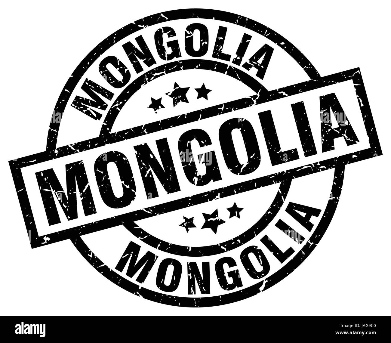 Mongolia black round grunge stamp - Stock Vector
