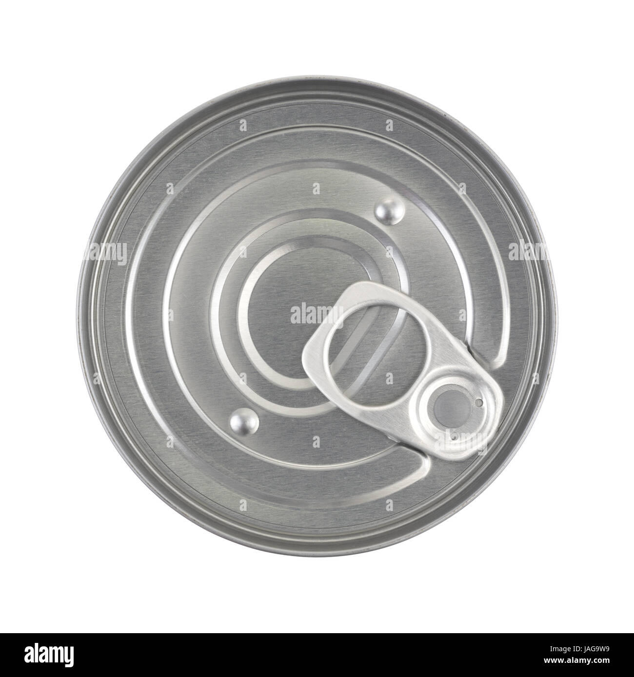 Top view of an unopened soup can with a pull tab isolated on a white background. - Stock Image