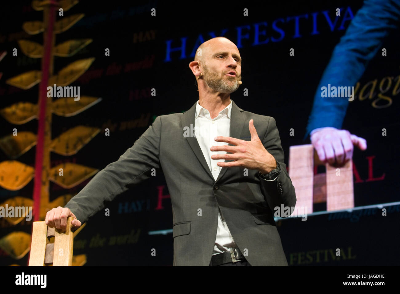 Evan Davis BBC journalist speaking on stage at Hay Festival 2017 Hay-on-Wye Powys Wales UK - Stock Image