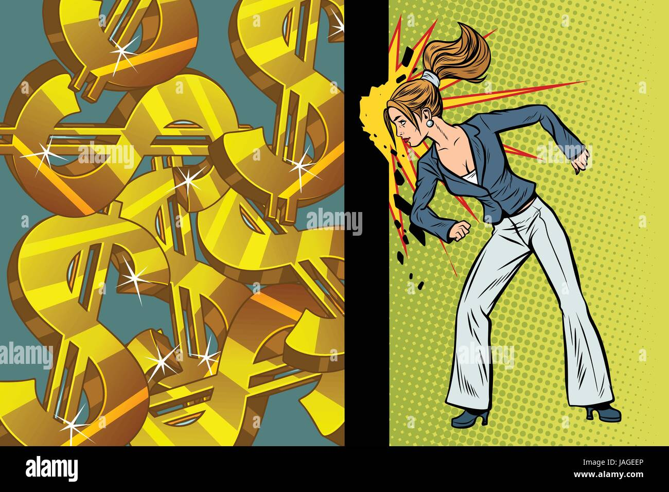 Businesswoman seeks to get rich, hit the wall head. Pop art retro ...