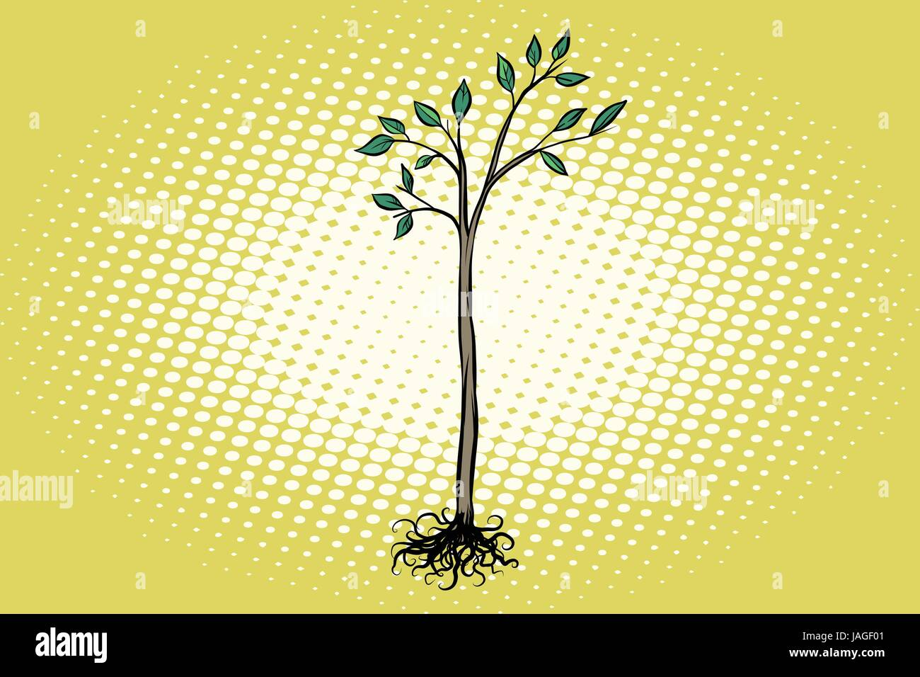 tree seedling with green leaves. Nature ecology. Pop art retro vector illustration - Stock Vector