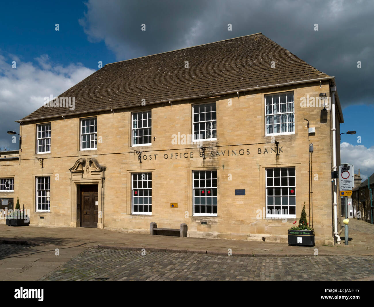 Oakham Town Post Office and Savings Bank building (now closed to public and is a sorting office only), Oakham, Rutland, - Stock Image