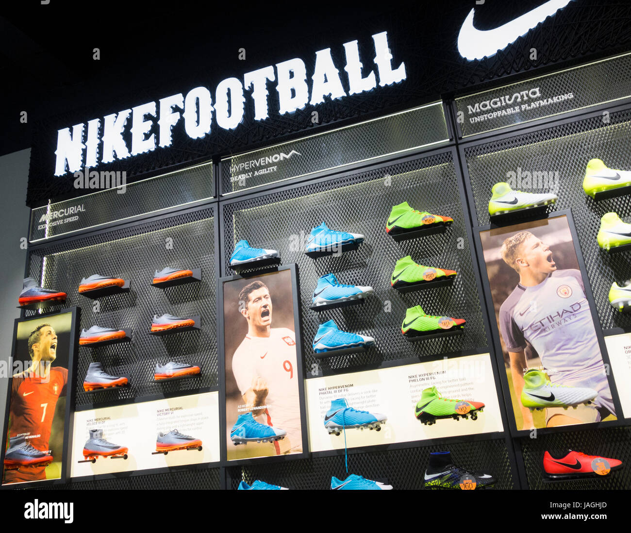 Nike football boots in sports store, UK