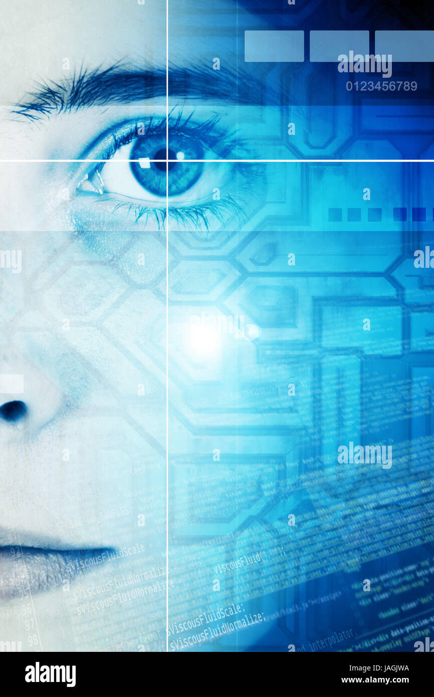 scanning of the face of a young woman, security identification concept - Stock Image