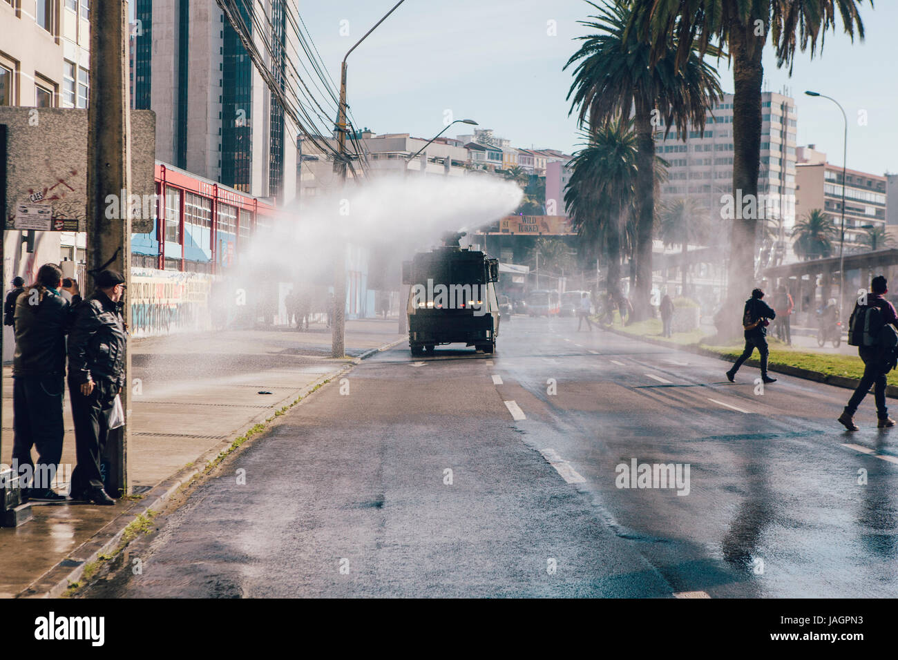 Valparaiso, Chile - June 01, 2017: Protests in Valparaiso, following President Michelle Bachelet's annual state - Stock Image