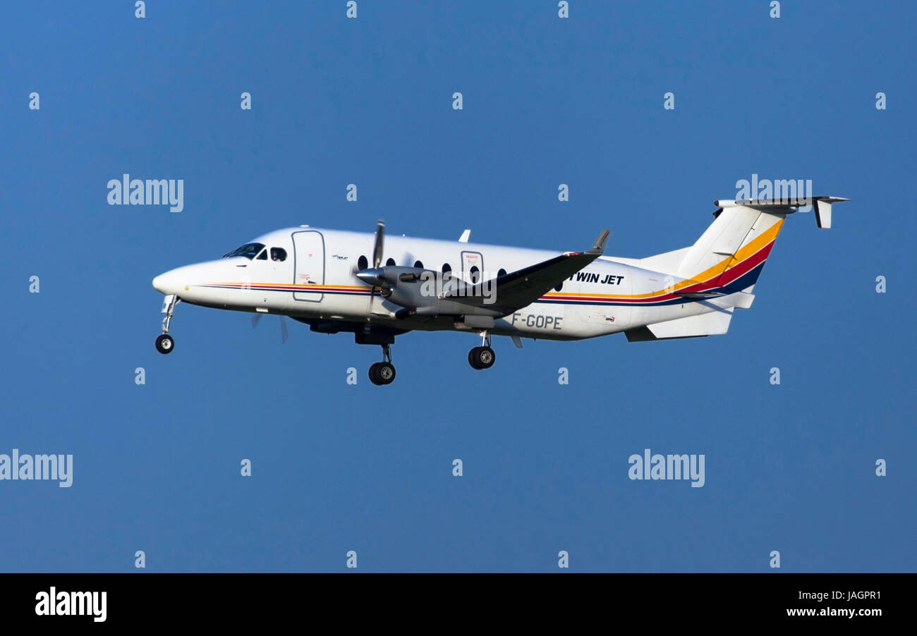 Twin Jet Beech 1900D approaching to Toulouse-Blagnac Airport in Toulouse, France. - Stock Image