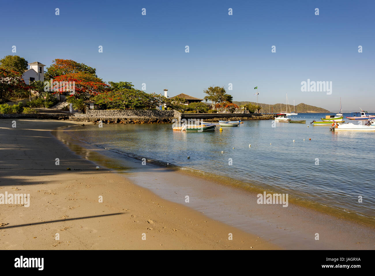 Bones Beach, one of the leading and most well-known located in the city center of Buzios - Stock Image
