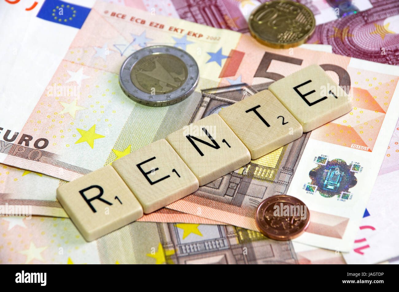 german word rente on banknotes and change Stock Photo