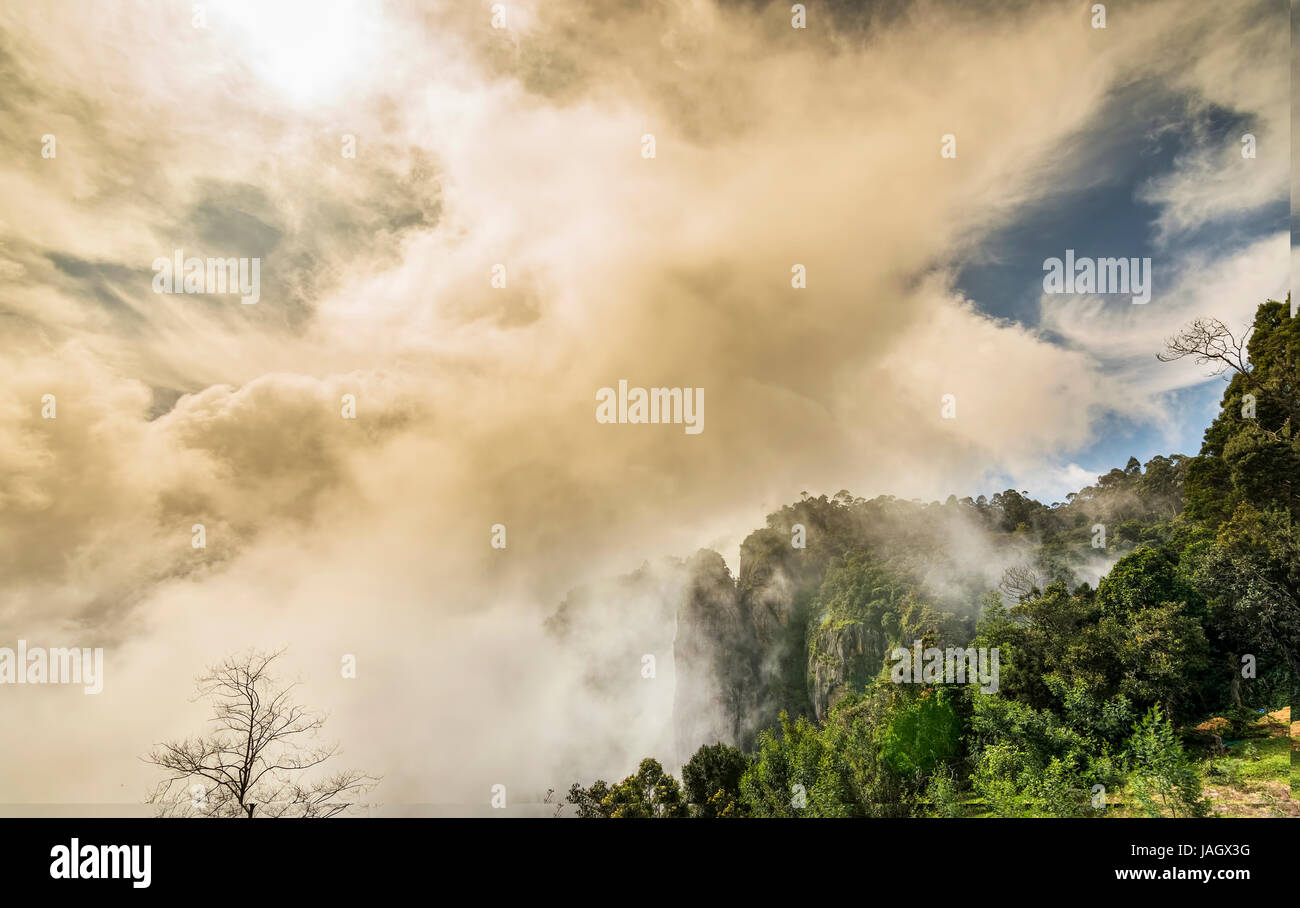 Pillar Rocks of Kodaikanal are set of three giant rock pillars which stand 122 metres (400 ft) high and is managed Stock Photo