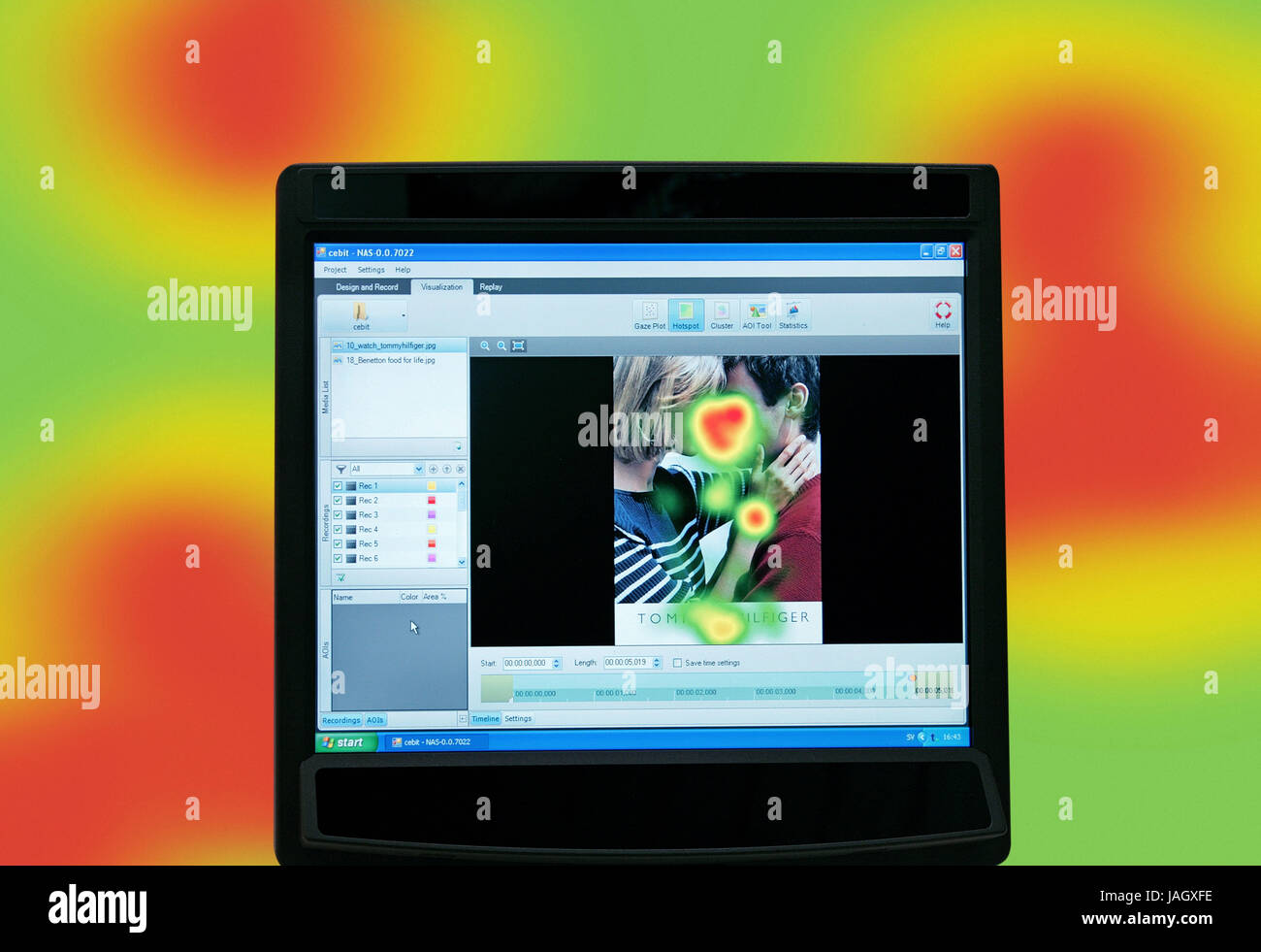 Okulographie,view motion registration for advertising tests and web site optimisation, - Stock Image