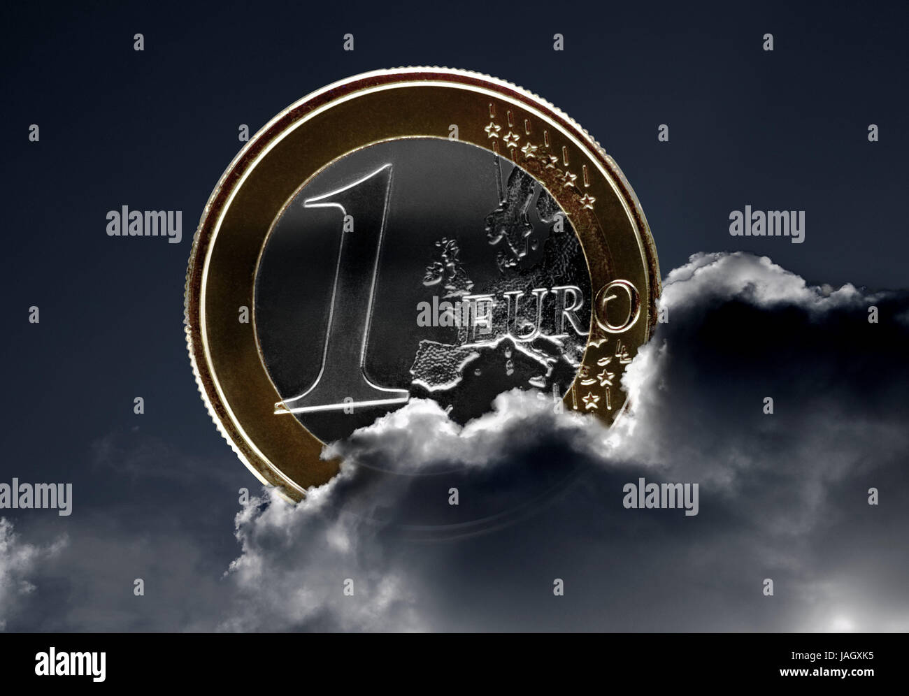Cloudy sky,1 euro of coin,euro,€,euro coin,monetary coin,money,coin,the EU,Europe,clouds,cloudy,darkly,storm cloud,thunderstorm,eurocrisis,inflation,sky,cloudies,computer - Stock Image